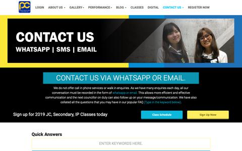 Screenshot of FAQ Page thephysicscafe.com - IP, JC Physics & Maths Tuition Singapore | Contact Us - captured Oct. 23, 2018