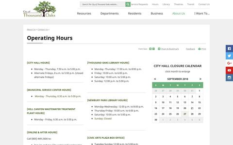 Screenshot of Hours Page toaks.org - Operating Hours | Thousand Oaks, CA - captured Sept. 28, 2018