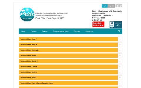 Screenshot of Testimonials Page prideac.com - Pride Air Conditioning and Appliance, Inc.: Testimonials - captured Nov. 10, 2016