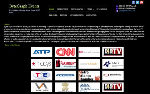 Screenshot of About Page bytegraph.com - ByteGraph Events - Photo, Video, AudioVisual, LED Wall, Projections, UpLighting, Conversions, iMAG, LiveStreaming, Indian, Asian, American, Wedding Corporate - captured Oct. 5, 2014
