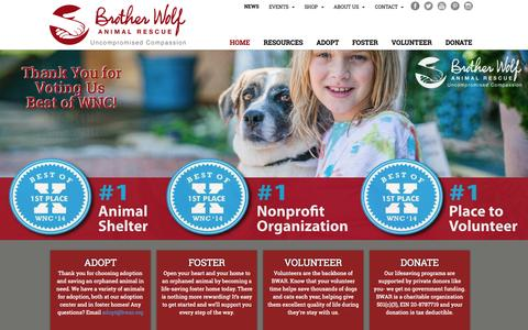 Screenshot of Home Page bwar.org - Home - Brother Wolf Animal Rescue - captured Oct. 5, 2014