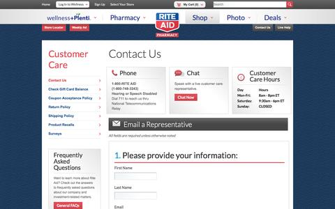Screenshot of Contact Page riteaid.com - Contact Us - captured Oct. 25, 2016