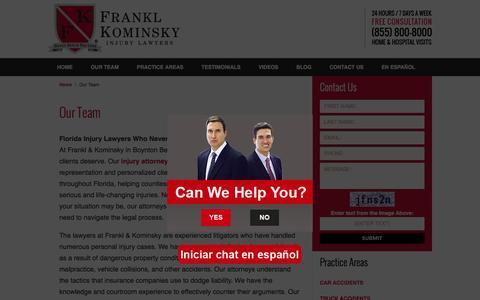 Screenshot of Team Page fklegal.com - Our Team :: Boynton Beach Injury Attorney Frankl & Kominsky - captured Feb. 10, 2016