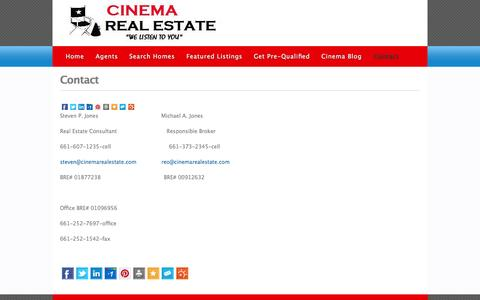 Screenshot of Contact Page cinemarealestate.com - Cinema Real Estate » Contact - captured Oct. 1, 2014