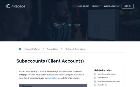 Screenshot of Support Page instapage.com - Subaccounts (Client Accounts) – Instapage Help Center - captured Nov. 9, 2018