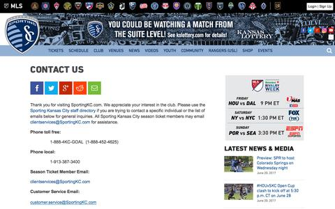 Screenshot of Contact Page sportingkc.com - Contact Us | Sporting Kansas City - captured June 21, 2017