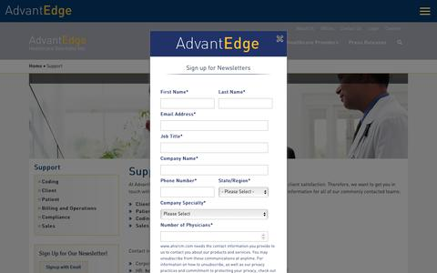 Screenshot of Support Page ahsrcm.com - Support | AdvantEdge Healthcare Solutions - captured Aug. 23, 2019