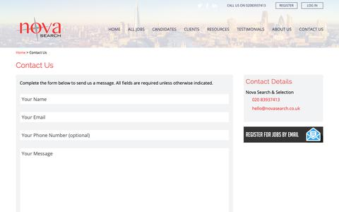 Screenshot of Contact Page novasearch.co.uk - Contact Us - Nova Search & Selection - captured Oct. 18, 2018