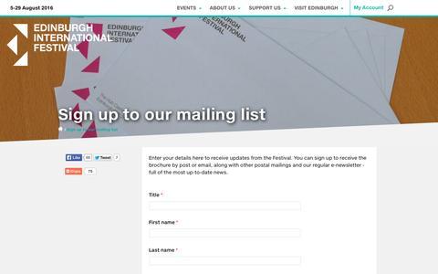 Screenshot of Signup Page eif.co.uk - Sign up to our mailing list | Edinburgh International Festival - captured Nov. 7, 2015