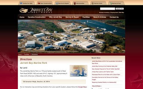 Screenshot of Maps & Directions Page jarrettbay.com - Directions | Jarrett Bay Boatworks - captured Oct. 6, 2014
