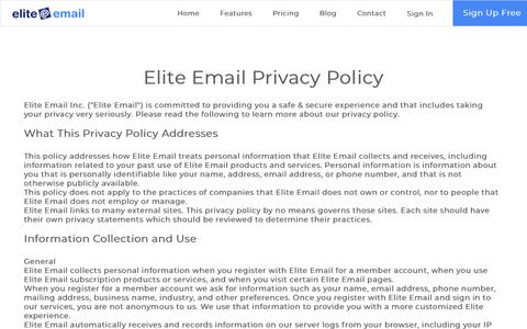 Screenshot of Privacy Page eliteemail.com - Privacy Policy| Elite Email - captured Nov. 1, 2019