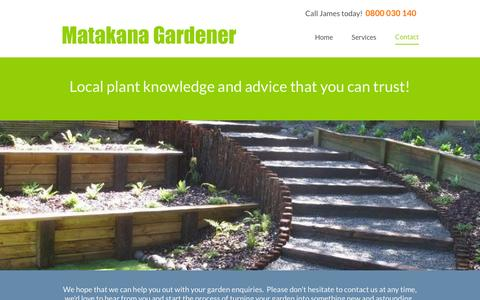 Screenshot of Contact Page matakanagardener.co.nz - Matakana Gardener   0800 03 01 40   Warkworth Matakana Omaha Flats Rodney Auckland - captured Feb. 7, 2016