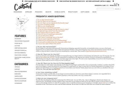 Screenshot of FAQ Page catbirdnyc.com - Catbird :: FAQs - captured Nov. 4, 2014