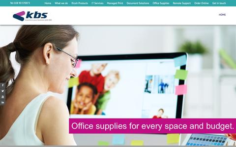 Screenshot of Home Page kbsgroup.co.uk - KBS - Ricoh, Belfast, Office Supplies, Office Technology - captured Feb. 2, 2016