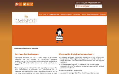 Screenshot of Services Page davenportsolicitors.com - Employment Law & HR Services for Businesses - captured Sept. 30, 2014