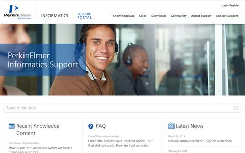 Screenshot of Support Page perkinelmer.com - PerkinElmer Informatics Support - captured March 20, 2019