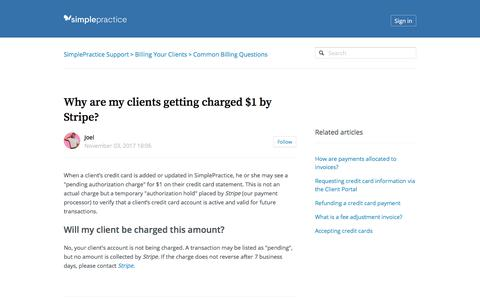 Screenshot of Support Page simplepractice.com - Why are my clients getting charged $1 by Stripe? – SimplePractice Support - captured April 26, 2018