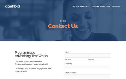 Screenshot of Contact Page dashbid.com - Contact Us — DashBid | Programmatic Advertising That Works - captured Oct. 11, 2017