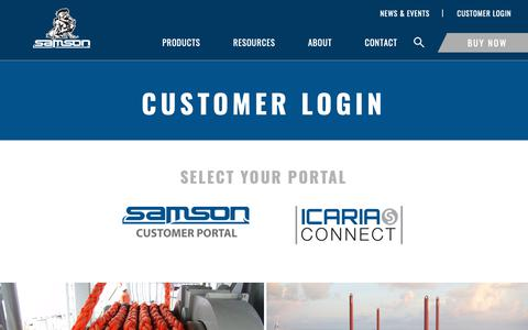 Screenshot of Login Page samsonrope.com - Customer Login - captured Dec. 13, 2018
