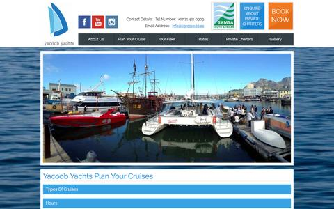 Screenshot of FAQ Page Hours Page yacoobyachts.co.za - Cruise - Private Charters | V&A Waterfront Cape Town | Cruise Specials - captured April 9, 2016