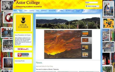 Screenshot of Home Page astorcollege.org - Home - captured Oct. 11, 2015