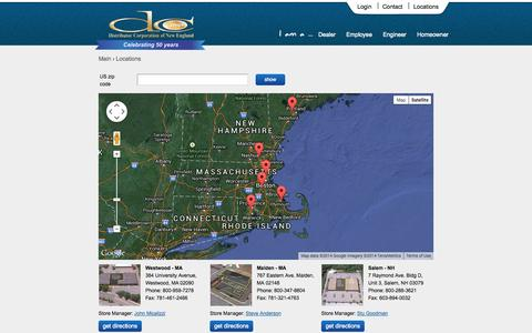 Screenshot of Locations Page dcne.com - DCNE Equipment and Totaline Parts Store Locations - captured Nov. 3, 2014