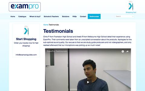 Screenshot of Testimonials Page examproguides.com - ExamPro, Testimonials - captured Feb. 17, 2018