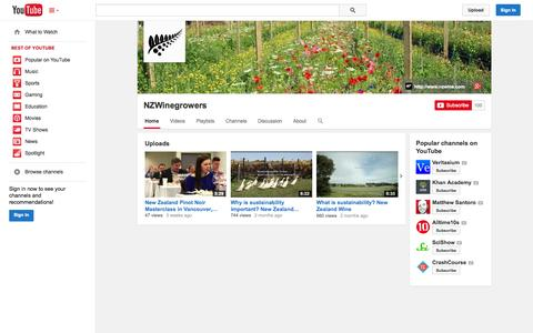 Screenshot of YouTube Page youtube.com - NZWinegrowers  - YouTube - captured Nov. 2, 2014