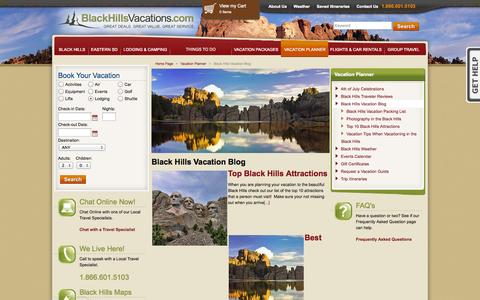 Screenshot of Blog blackhillsvacations.com - Black Hills Vacations Blog | Rapid City, Deadwood, Spearfish Info - captured Sept. 22, 2014