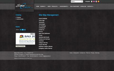 Screenshot of Site Map Page steelcolor.com - Site Map Management  - SteelColor - captured Oct. 7, 2014