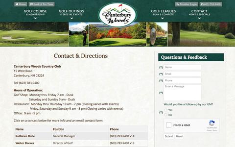 Screenshot of Contact Page Maps & Directions Page canterburywoodscc.com - Canterbury Woods Country Club | Public Golf Course | Canterbury, NH - Contact & Directions - captured April 8, 2017