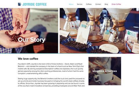 Screenshot of About Page joyridecoffeedistributors.com - Our Story |Joyride Coffee - captured Sept. 23, 2014