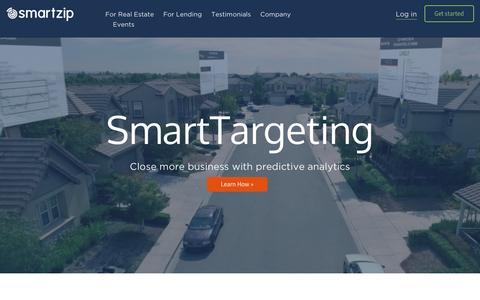 Screenshot of Home Page smartzip.com - SmartZip | Predictive Marketing for Real Estate - captured Feb. 12, 2017