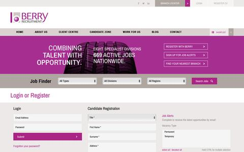 Screenshot of Login Page berryrecruitment.co.uk - Register With Berry For The Latest Jobs - captured Oct. 17, 2016