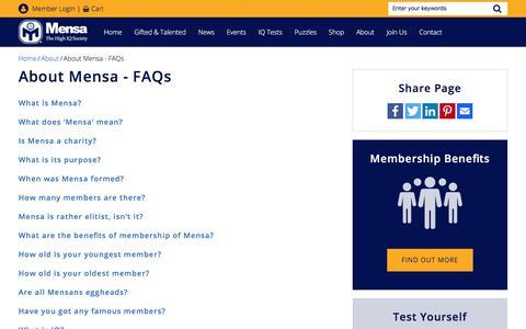 Screenshot of FAQ Page mensa.org.uk - About Mensa - FAQs   British Mensa - captured Sept. 24, 2018