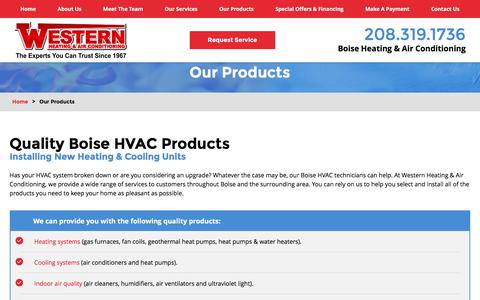 Screenshot of Products Page westernhvac.com - Our Products   Boise HVAC Products - captured Nov. 29, 2016