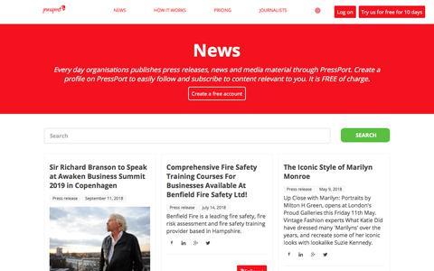 Screenshot of Press Page pressport.com - News - captured Sept. 23, 2018