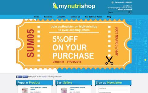 Screenshot of Home Page mynutrishop.co.in - Mynutrishop Hexagon Nutrition Pentasure Pentasure DM Pentasure HP ObesiGo Kaltame GeriaGold Osteopro. - captured May 25, 2016