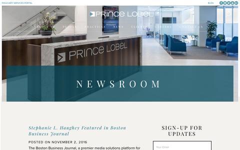 Screenshot of Press Page princelobel.com - News - Prince Lobel Tye LLP - captured Nov. 12, 2016