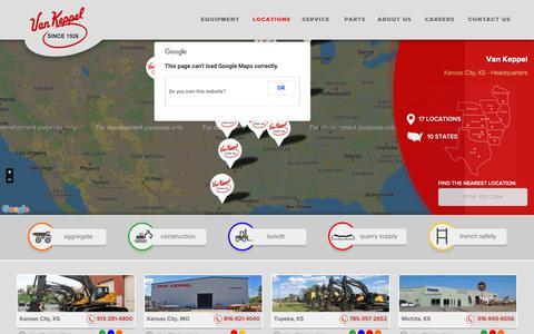 Screenshot of Locations Page vankeppel.com - Van Keppel Company - captured Oct. 19, 2018