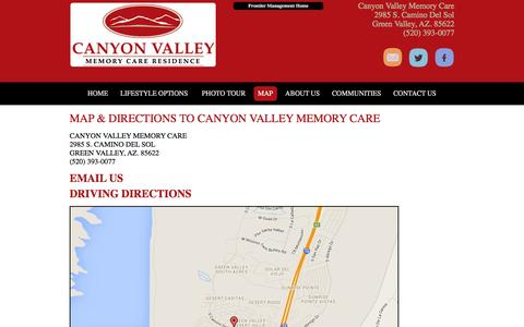 Screenshot of Maps & Directions Page canyonvalleymemorycare.com - Green Valley Senior Living   Canyon Valley Memory Care in Green Valley, AZ. 85622 - captured Dec. 6, 2015