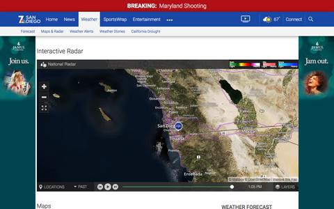 Screenshot of Maps & Directions Page nbcsandiego.com - San Diego Weather Maps and Interactive Weather Radar | NBC 7 San Diego - captured Sept. 20, 2018