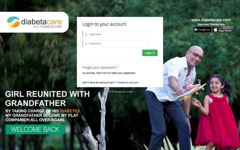 Screenshot of Login Page diabetacare.com - User account | DxNet - captured Jan. 7, 2016