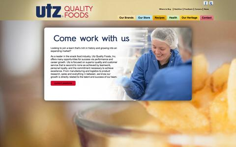 Screenshot of Jobs Page utzsnacks.com - Careers - captured Feb. 17, 2016