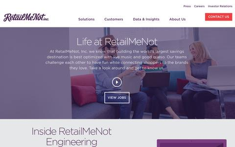 Screenshot of Jobs Page retailmenot.com - RetailMeNot, Inc - Careers - captured April 15, 2017
