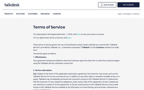 Screenshot of Terms Page talkdesk.com - Terms of Service | Talkdesk - captured May 26, 2019