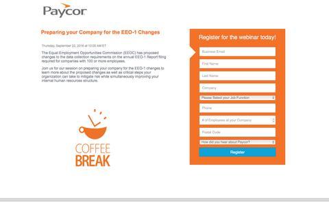 Screenshot of Landing Page paycor.com - Paycor Webinar Registration - captured Sept. 22, 2016