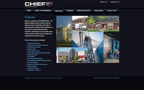 Screenshot of Products Page chiefind.com - Products - Chief Industries Corporate Site - captured Nov. 1, 2014