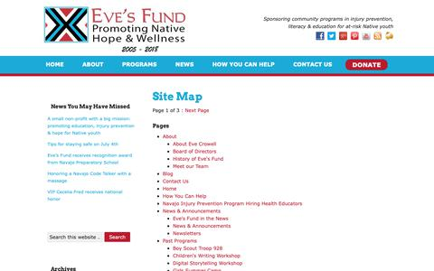 Screenshot of Site Map Page evecrowellsfund.org - Site Map - Eves Fund for Native American Health Initiatives - captured Sept. 29, 2018