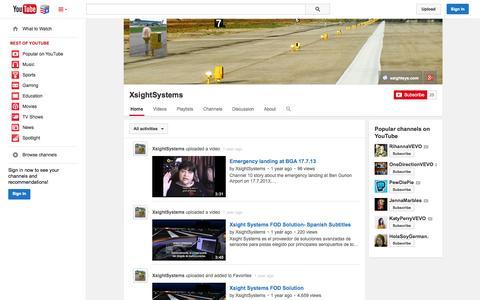 Screenshot of YouTube Page youtube.com - XsightSystems  - YouTube - captured Nov. 5, 2014